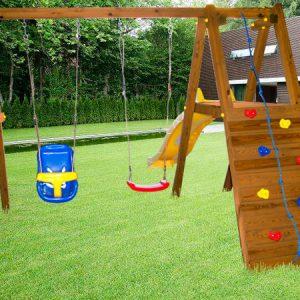 """Детская деревянная горка """"Пикник"""" с качелями"""