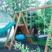 Детский деревянный комплекс горка-качели «Пикник»